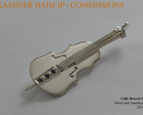 "This stunning Cello brooch pin was commissioned for a special birthday gift. It is only 2"" in length."