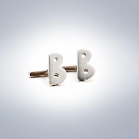 B initial silver cufflinks