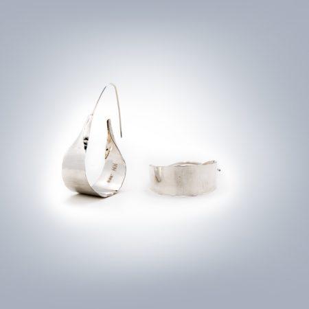 hammered hoop earrings small