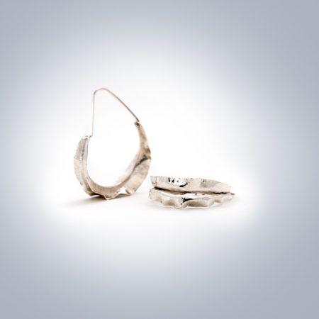 silver ruffle reef earrings