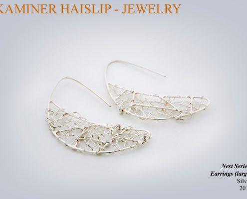 nest earrings woven silver wire