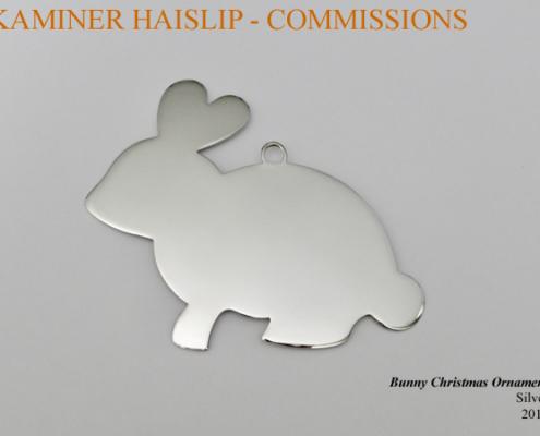 silver bunny christmas ornament