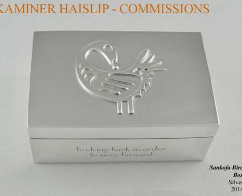 silver box sankofa bird commissions hand engraving