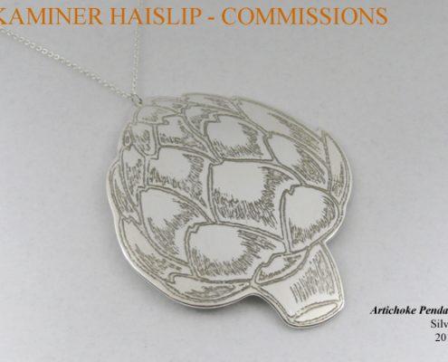 necklaces commissions custom design artichoke etched silver pendant