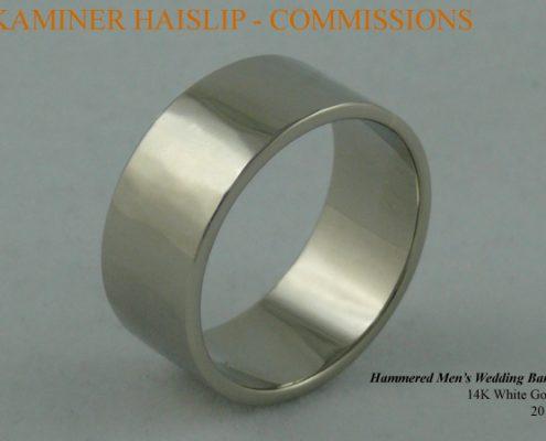 wedding bands hammered 14k white gold wedding ring