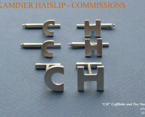 initial cufflinks silver tux studs
