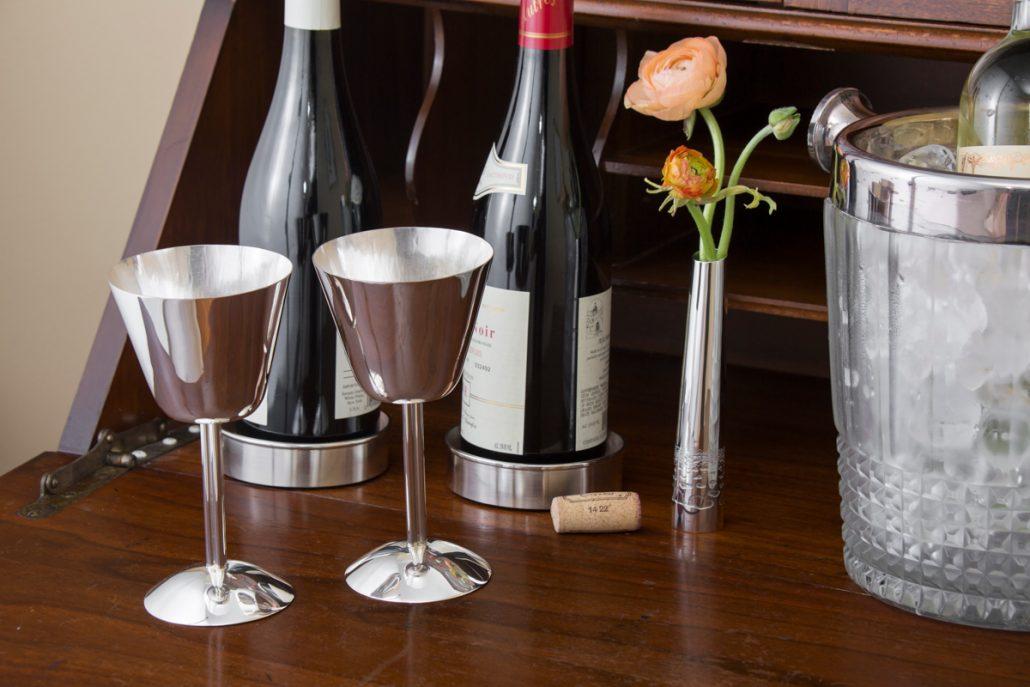 silver wine coaster
