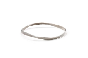 hammered silver bangle bracelet
