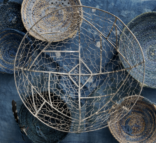 silver and indigo baskets