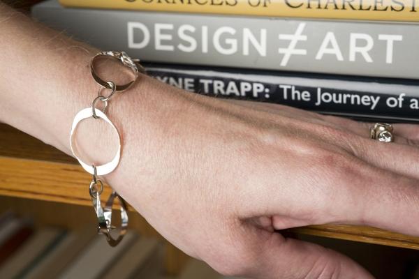 hammered silver link bracelet