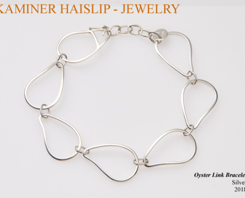 silver oyster link bracelet