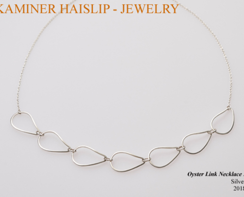 silver oyster link necklace