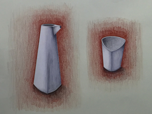 silver pitcher and cup drawing beaker tumbler designer silversmith