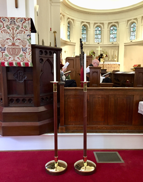 St. Thaddeus Episcopal Church Aiken SC historic sanctuary processional torches