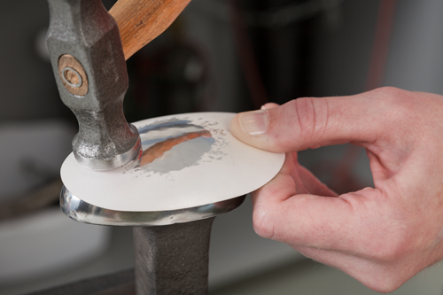 silver spoon bowl planish silversmith hammer silversmithing technique