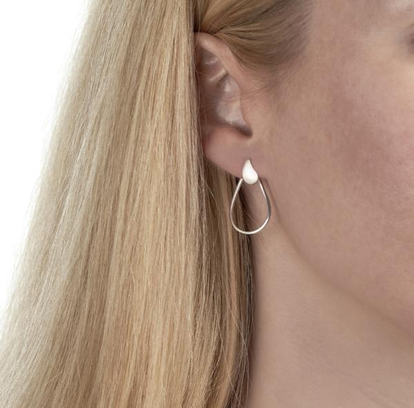 silver oyster earring