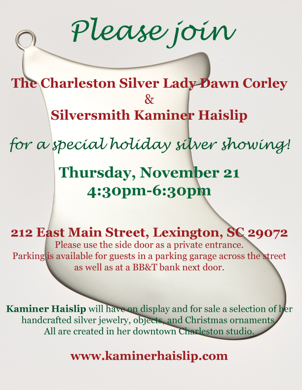 The Charleston Silver Lady silver exhibition Lexington SC holiday shopping