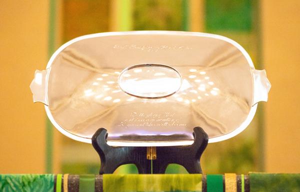 silver communion tray First Presbyterian Church Aiken, SC