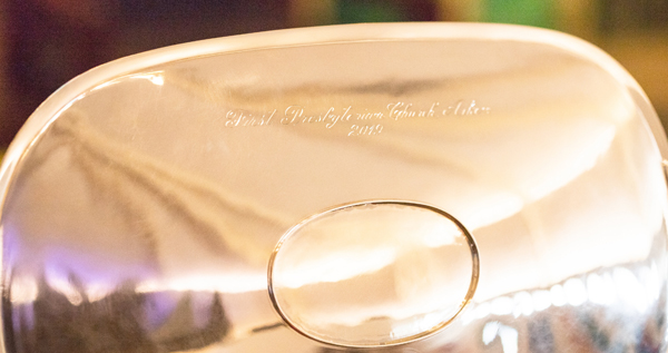 silver tray hand engraved inscription