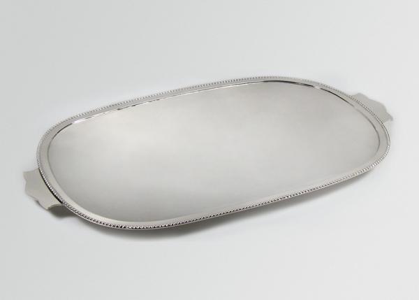 oval silver tray bead rim