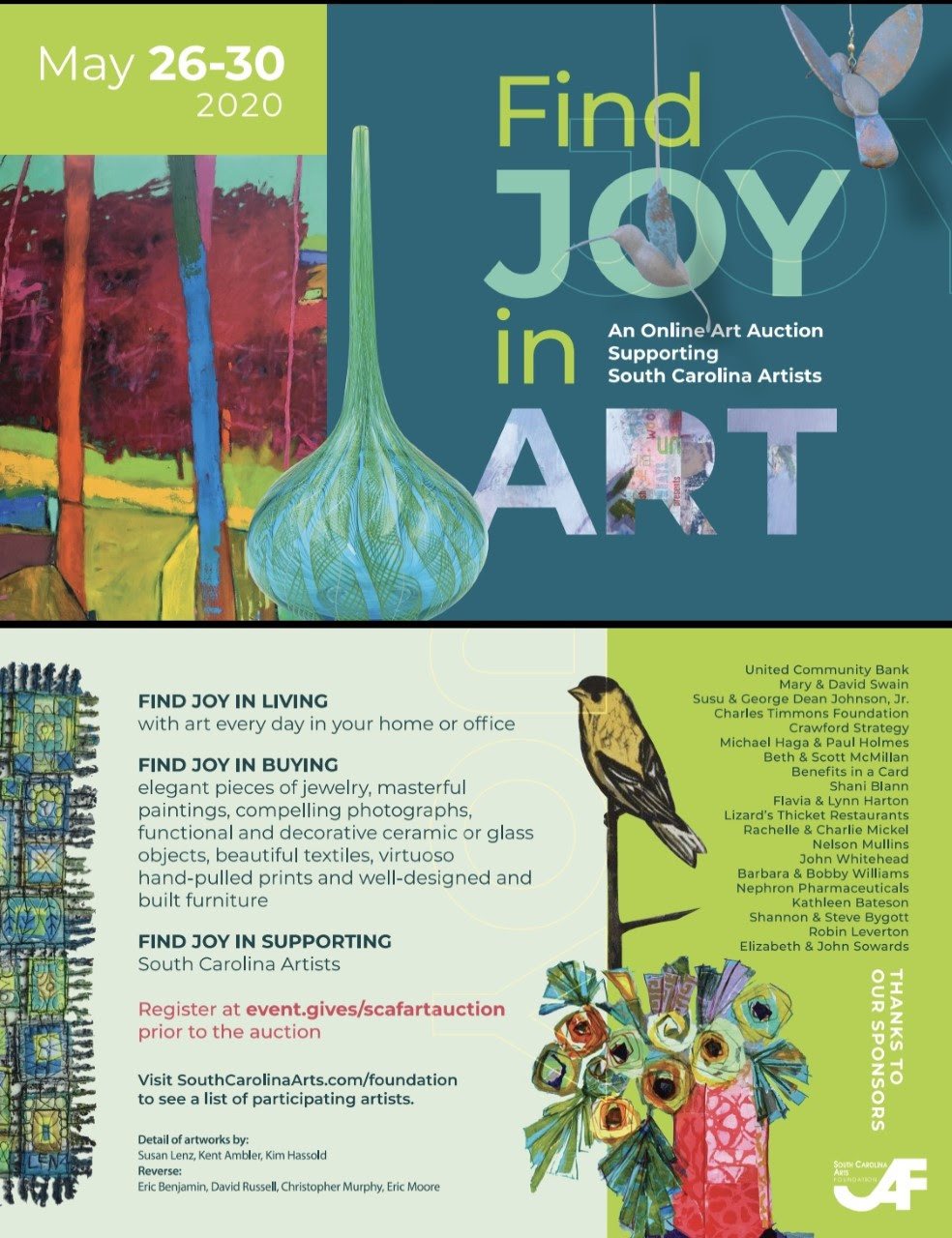 find joy in art auction sc arts foundation